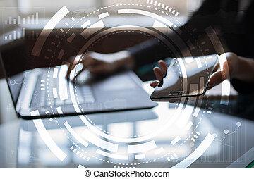 concetto, schermo, virtuale, affari, tecnologia internet