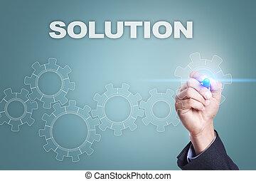 concetto, schermo, virtuale, soluzione, uomo affari, disegno