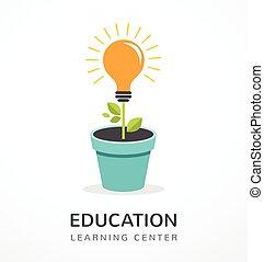 concetto, scienza, -, idea, educazione, luce, crescente, bulbo, icona