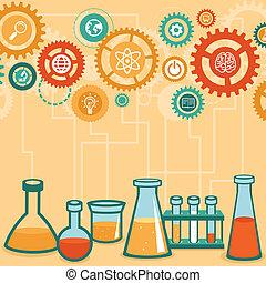 concetto, scienza, -, ricerca, vettore, chimica