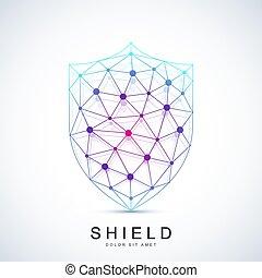 concetto, scudo, protezione, creativo, vettore, disegno, sagoma, logotipo, icon., colorito, sicurezza