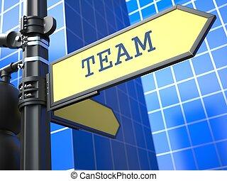concetto, segno, affari, squadra