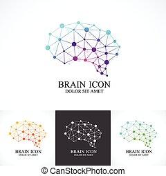 concetto, set, colorito, creativo, cervello, vettore, disegno, sagoma, icona