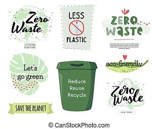 concetto, set., ecologico, collezione, zero, elementi, spreco, design.