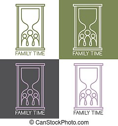 concetto, set, famiglia, illustrazione, collegamento, vettore