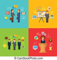 concetto, set, icone affari, o, vettore