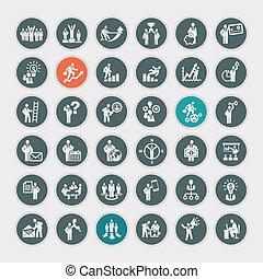 concetto, set, icone affari