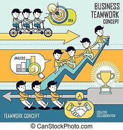 concetto, set, lavoro squadra, affari
