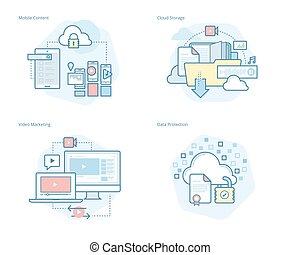 concetto, set, magazzino, marketing, icone, mobile, soluzioni, protezione, video, servizi, linea, dati, nuvola