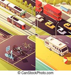 concetto, set, trasporto, icone