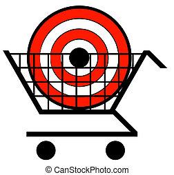 concetto, shopping, bersaglio, -, carrello, cesto, vendita dettaglio