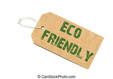 concetto, shopping, eco, prezzo, -, segno, etichetta carta, fondo, bianco, amichevole