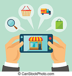 concetto, shopping, illustration., internet
