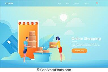concetto, shopping, raggiungimento, product., schermo, linea, e-commercio, computer, tenere mani, o, fuori