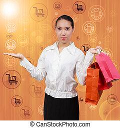 concetto, shopping, rete, affari, mostra, comunicazione, mani, spending., bags.on, simboli, fondo, borderless, internet., presa, vuoto, donne