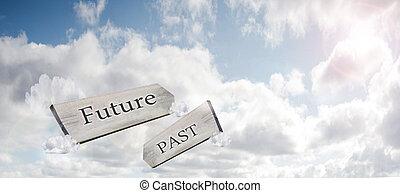 concetto, signpost, immagine, cielo, contro, passato, interpretazione, futuro, luce sole, presente, 3d