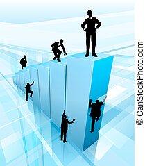 concetto, silhouette, affari, concorrenza, persone