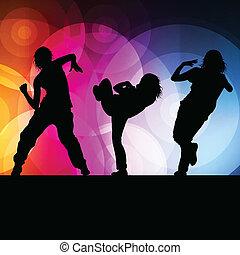 concetto, silhouette, ballo, vettore, fondo, ragazza