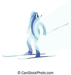 concetto, silhouette, colorito, illustrazione, donna, fondo, sci