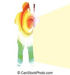 concetto, silhouette, colorito, zampognaro, illustrazione, forme, vettore, fondo, scozzese, curvo, fatto, trasparente, uomo