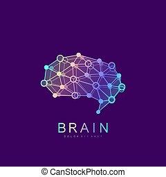 concetto, silhouette, dots., intelligenza, simbolo, linee, logotype, artificiale, idea, brainstorm, cervello, vettore, disegno, sagoma, logotipo, collegato, logo., pensare, icona