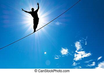 concetto, silhouette, presa rischio, corda, equilibratura,...