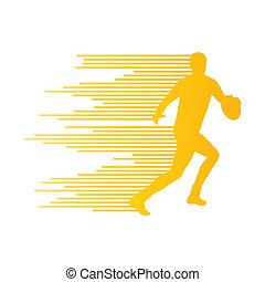 concetto, silhouette, st, giocatore, vettore, fondo, rugby, fatto, uomo