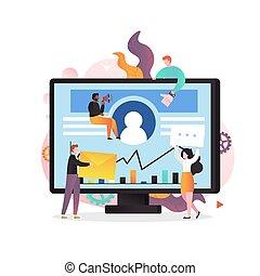 concetto, sito web, digitale, pagina, marketing, vettore, bandiera, web
