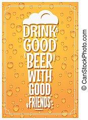 concetto, slogan, vetro, birra, disegno, fondo, logotipo