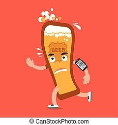 concetto, smartphone, corsa, carattere, illustrazione, birra, vettore, salute, cartone animato