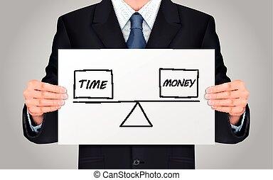 concetto, soldi, fra, presa a terra, tempo, uomo affari, equilibrio