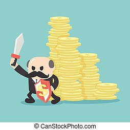 concetto, soldi, proteggere, suo, uomini affari