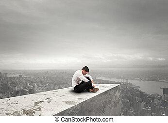 concetto, solitudine, fallimento, businessman., disperato, solo