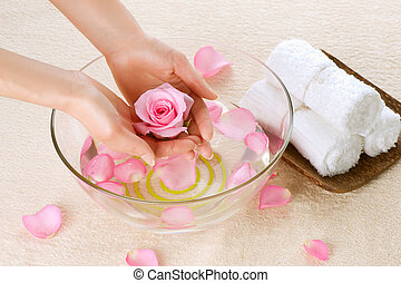 concetto, spa., manicure, mano