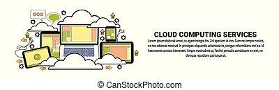 concetto, spazio, dati, calcolare, magazzino, orizzontale, copia, bandiera, nuvola