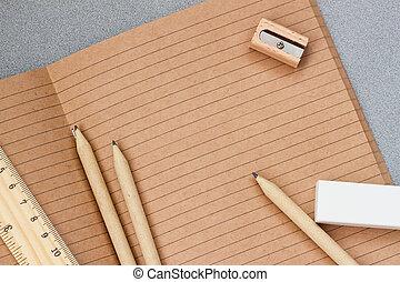 concetto, spazio, legno, articoli, cima, scuola, , indietro, educazione, posto lavoro, mestiere, quaderno, stationery, vista., copia, aperto