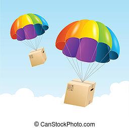 concetto, spedizione marittima, aria, paracadute, fondo., vettore