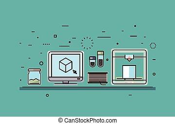 concetto, stampa, vettore, fondo, digitale, 3d