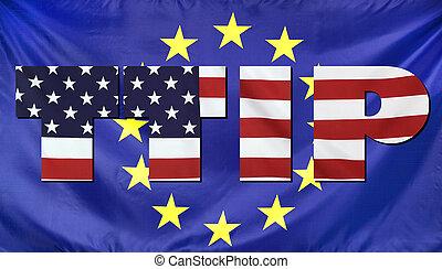 concetto, stati uniti, ttip, bandiere, eu, composizione
