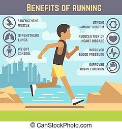 concetto, stile di vita, tipo, jogging, correndo, vettore, idoneità, uomo, cartone animato, esercizio