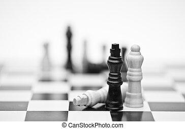 concetto, strategia affari, domanda, gioco, scacchi