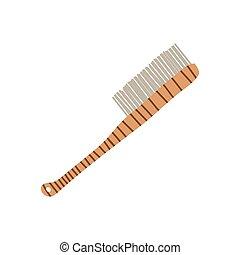 concetto, strofinata, legno, oggetto, manico, illustrazione, eco, zero, vettore, spazzola, stile di vita, spreco, riutilizzabile