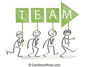 concetto, successo, direzione, illustrazione, vettore, lavoro squadra