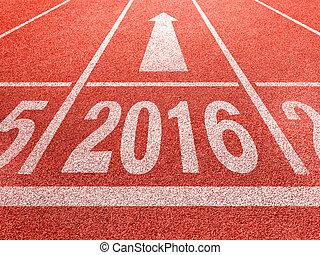 concetto, successo, prospettiva, anno, nuovo, 2016