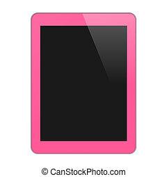 concetto, tavoletta, pink., isolato, vuoto, screen., illustrazione, verticale, pc, vettore, fondo., realistico, bianco