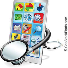 concetto, tavoletta, telefono, o, pc, controllo sanitario, far male