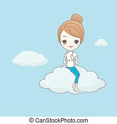 concetto, tecnologia, nuvola, calcolare