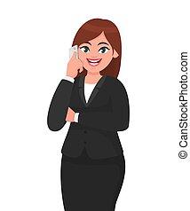 concetto, telecomunicazione, smartphone, mobile, donna d'affari, o, illustrazione, style., arm., telefono, vettore, attraversato, tecnologia, cartone animato, parlante, felice