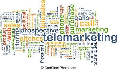 concetto, telemarketing, fondo