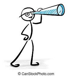 concetto, telescopio, affari, -, guardando attraverso, visione, uomo